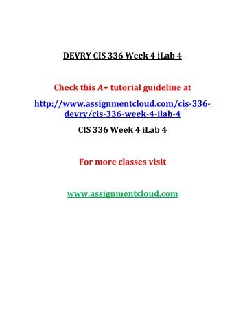 DEVRY CIS 336 Week 4 iLab 4
