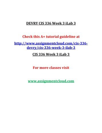 DEVRY CIS 336 Week 3 iLab 3