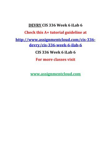 DEVRY CIS 336 Week 6 iLab 6