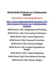 DEVRY BUSN 278 Week 1 to 7 All Discussion Question