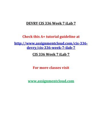 DEVRY CIS 336 Week 7 iLab 7