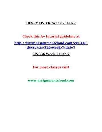 DEVRY CIS 336 Week 7 iLab 7