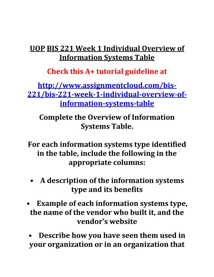 bis221 r1 overview of information systems Information systems is a company specialized in technology services and solutions for contact centers with a 20 year experience implementing software solutions the company offers end-to-end solutions that include voicexml deployments for enterprise voice portals and integration with web.