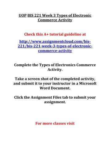 UOP BIS 221 Week 3 Types of Electronic Commerce Activity
