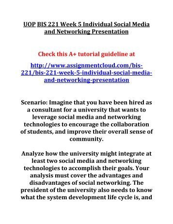 UOP BIS 221 Week 5 Individual Social Media and Networking Presentation