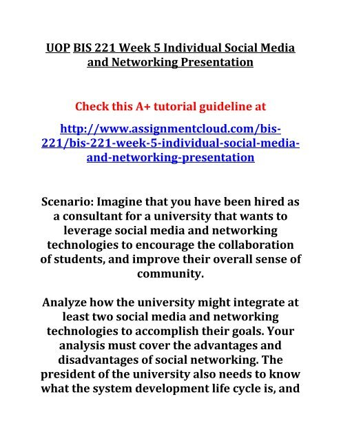 UOP BIS 221 Week 5 Individual Social Media and Networking