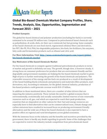Global Bio-Based Chemicals Market 2015 to 2021,Share,analysis,Trends and Forecast,by Acute Market Reports