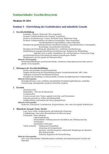 Seminarinhalte: Geschlechtssystem
