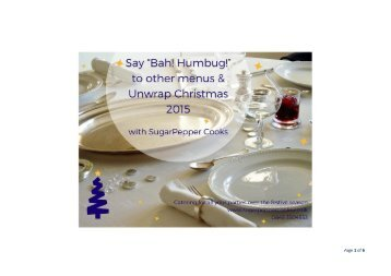Christmas Party Menus - SugarPepper Cooks, Oxford  2015