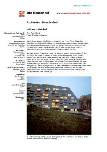 Architektur: Hase in Gold - Baugenossenschaft Freiblick