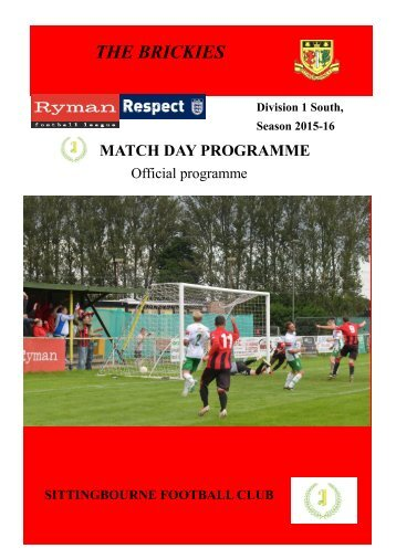 Sittingbourne v Chatham Town Match day programme 12th December 2015