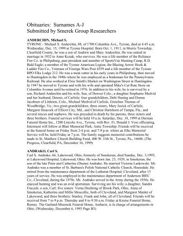 Obituaries Surnames A-J Submitted by Smerek Group Researchers