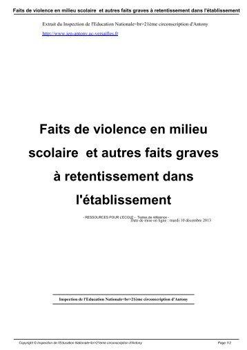 Faits de violence en milieu scolaire et autres faits graves à ...