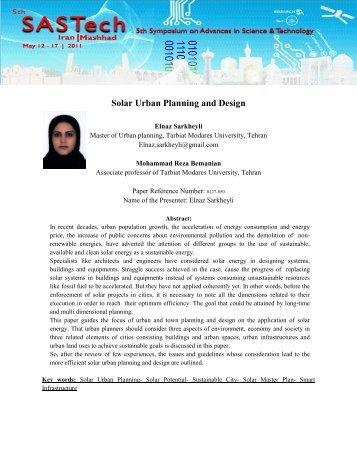 Solar Urban Planning and Design - 5th Symposium on Advances in ...