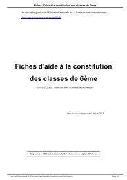 Fiches d'aide à la constitution des classes de 6ème