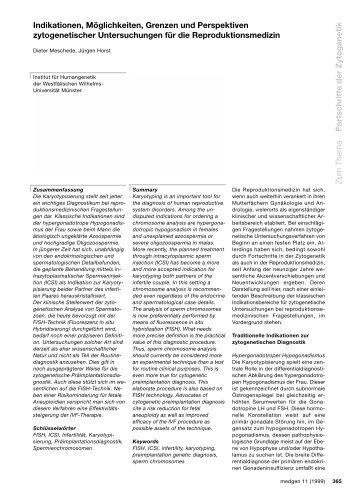 Zum Thema Fortschritte der Zytogenetik Indikationen, Möglichkeiten ...