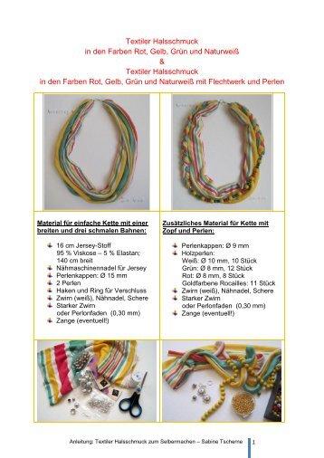 Textiler Halsschmuck in den Farben Rot, Gelb, Grün und ... - Topp