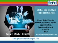 FMI: Egg and Egg Products Market Volume Analysis, Segments, Value Share and Key Trends 2014-2020