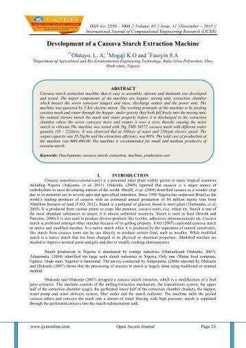 Development of a Cassava Starch Extraction Machine