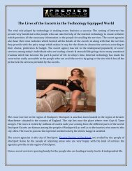 The Lives of the Escorts in the Technology Equipped World