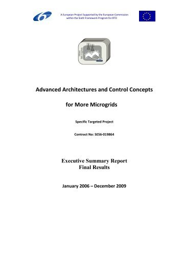 Advanced Architectures and Control Concepts for More Microgrids