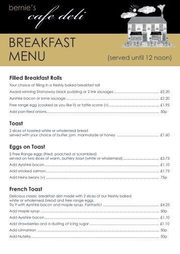 Bernie's Cafe Deli Breakfast Menu