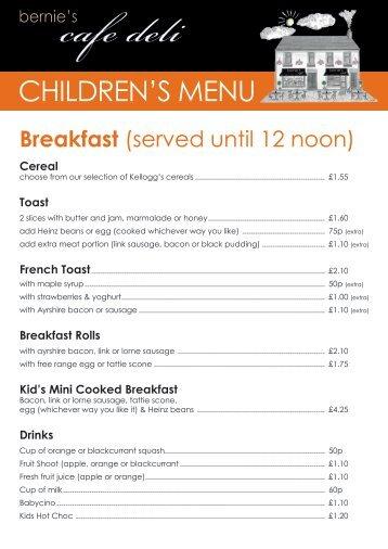 Bernie's Cafe Deli Childrens Menu
