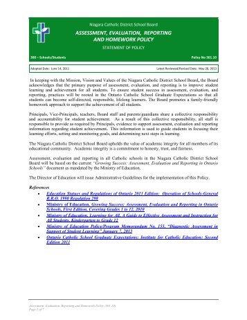 ncdsb homework policy