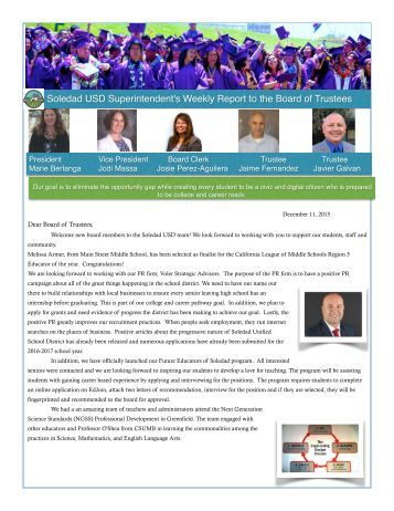 Soledad USD Superintendent's Weekly Report to the Board of Trustees