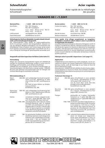 D 34 Schnellstahl Acier rapide VANADIS 60 / ~1.3241