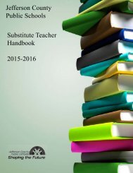 Jefferson County Public Schools Substitute Teacher Handbook 2015-2016