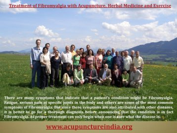 Treatment of Fibromyalgia with Acupuncture, Herbal Medicine and Exercise