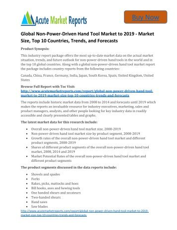 Global Non-Power-Driven Hand Tool Market to 2019,Share,analysis,Trends and Forecast,by Acute Market Reports