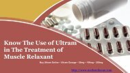 Know The Use of Ultram in The Treatment of Muscle Relaxant