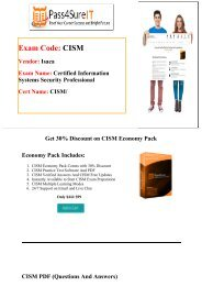 Pass4sure Isaca CISM Real Test Questions