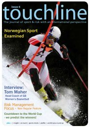 Touchline - Issue 6 - The journal of sport and risk with an - Sportscover