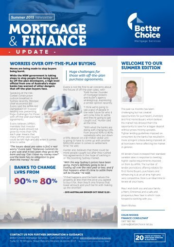 Better Choice Mortgage Services - Quarterly Newsletter Summer 2015-16 - CW