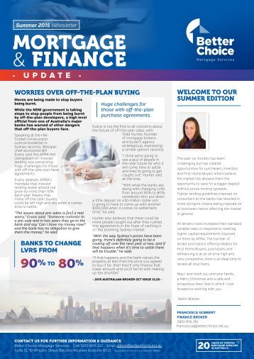 Better Choice Mortgage Services - Quarterly Newsletter Summer 2015-16 - FG