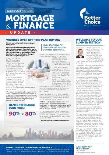 Better Choice Mortgage Services - Quarterly Newsletter Summer 2015-16 - JCO