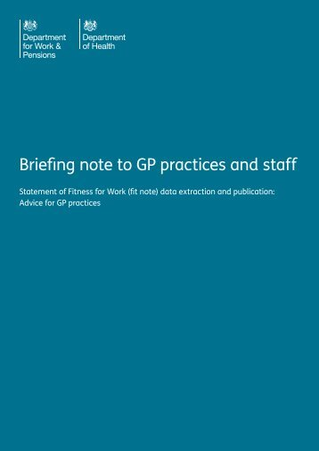 Briefing note to GP practices and staff