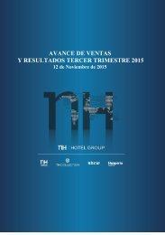 AVANCE DE VENTAS Y RESULTADOS TERCER TRIMESTRE 2015