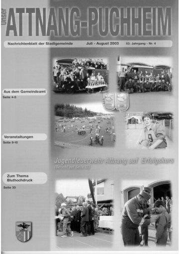 Ausgabe Juli - August 2003 - Attnang-Puchheim - Land Oberösterreich