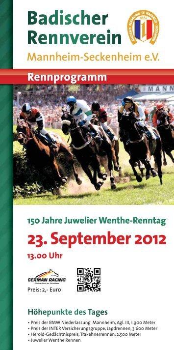Rennprogramm 150 Jahre Juwelier Wenthe-Renntag 23.September