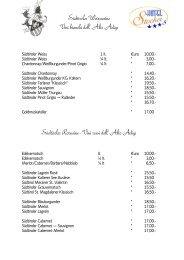 Weinkarte - Lista dei Vini