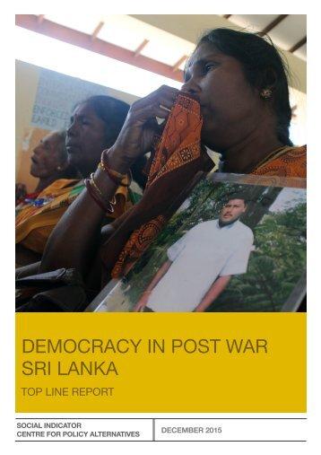 DEMOCRACY IN POST WAR SRI LANKA