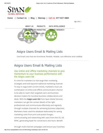 Purchase Targeted List of Asigra Companies from Span Global Services