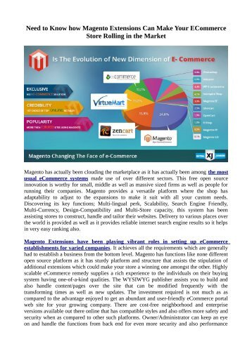 Need to Know how Magento Extensions Can Make Your ECommerce Store Rolling in the Market