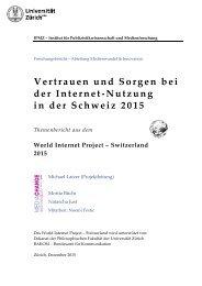 Vertrauen und Sorgen bei der Internet- Nutzung in der Schweiz 2015