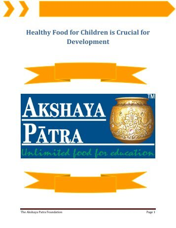 Healthy Food for Children is Crucial for Development
