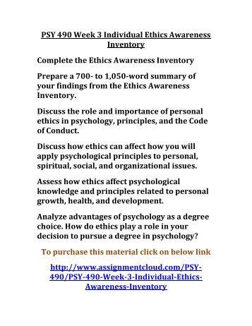 Week one ethics develpoment